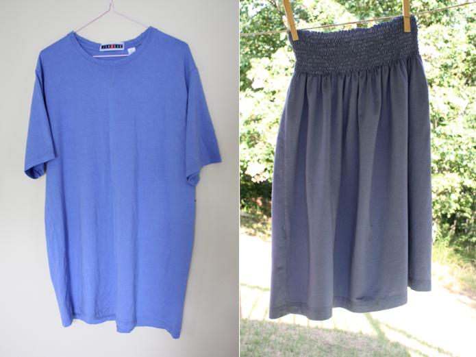 como transformar camisetas grandes en faldas arruchadas en la cintura1