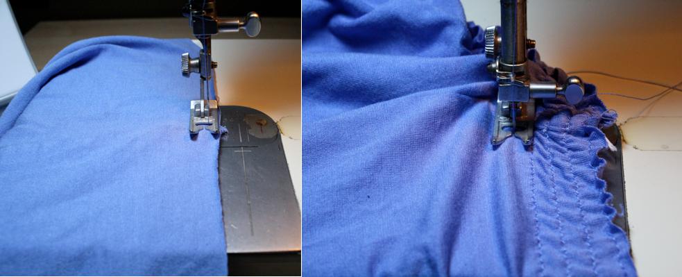 como transformar camisetas grandes en faldas arruchadas en la cintura5