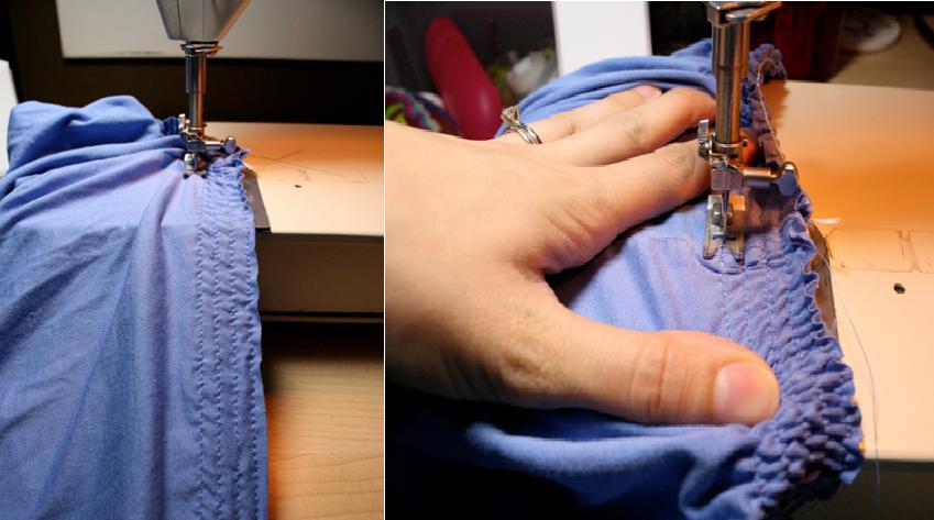 como transformar camisetas grandes en faldas arruchadas en la cintura7