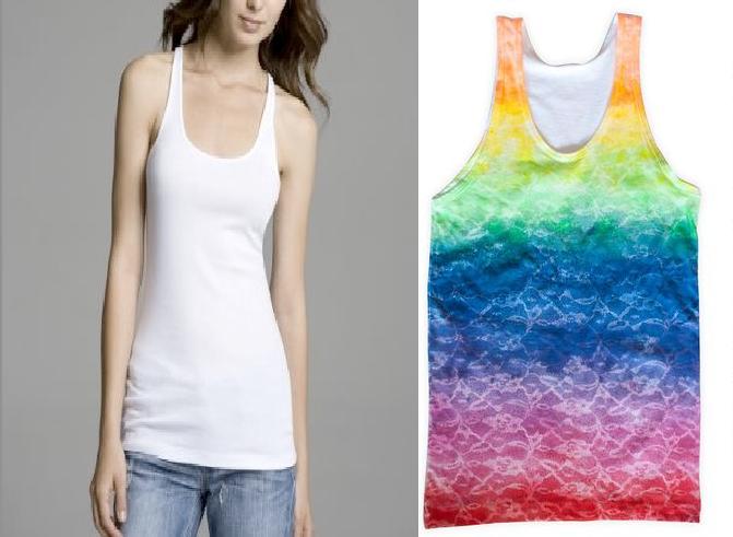 Como crear diseños coloridos a camisetas con encaje1