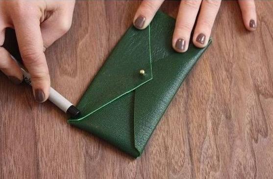 Como hacer un estuche para telefonos en cuero facil y lindo ¡Perfecto para usar de monedero!4