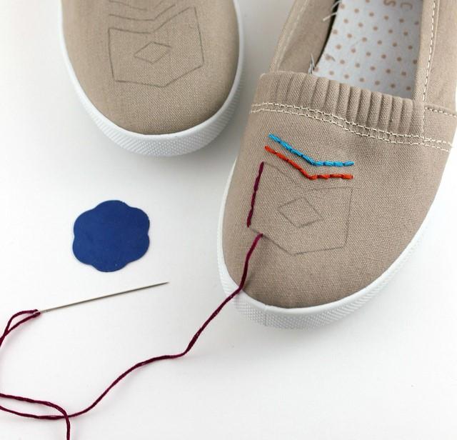 Como renovar zapatillas con bordados sencillos ¡Ideal para principiantes!5