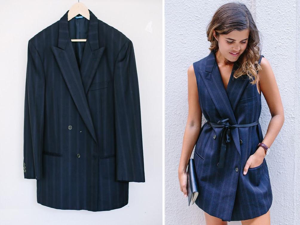 Como transformar un saco de traje en un vestido coqueto exclusivo1