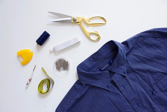 Como transformar una camisa de hombre en una blusa mangas asimétricas2