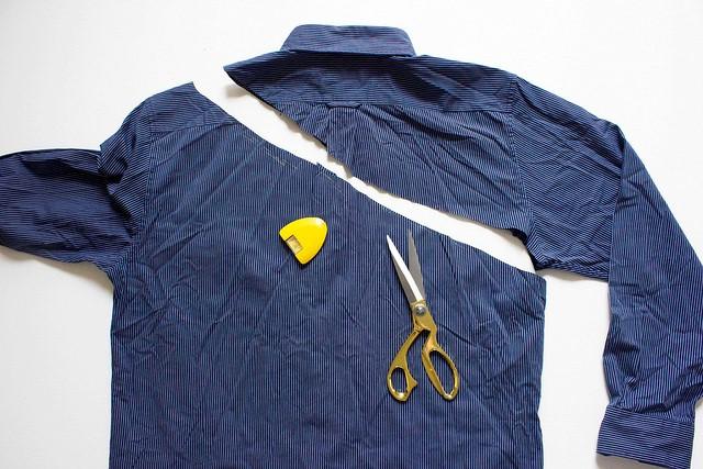 Como transformar una camisa de hombre en una blusa mangas asimétricas4