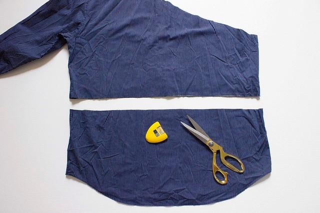 Como transformar una camisa de hombre en una blusa mangas asimétricas5