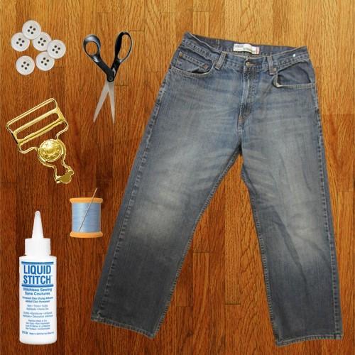 Como hacer un overol de short con unos jeans viejos pasó a paso2