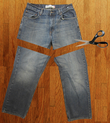 Como hacer un overol de short con unos jeans viejos pasó a paso3