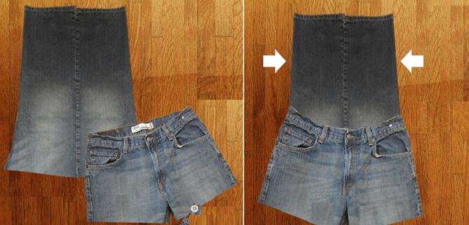 Como hacer un overol de short con unos jeans viejos pasó a paso5