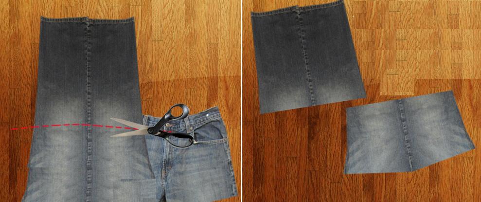 Como hacer un overol de short con unos jeans viejos pasó a paso7