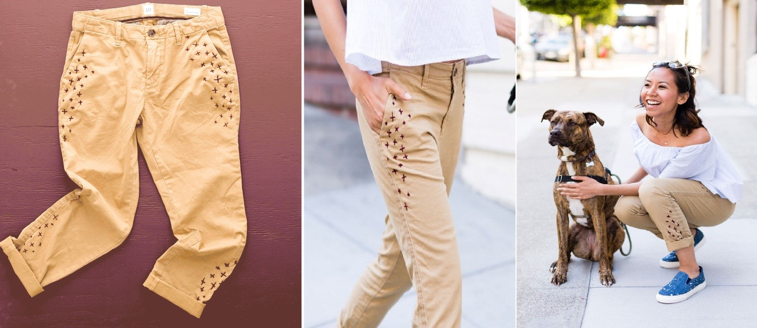 Como personalizar pantalones con bordados sencillos ¡Perfecto para principiantes!5