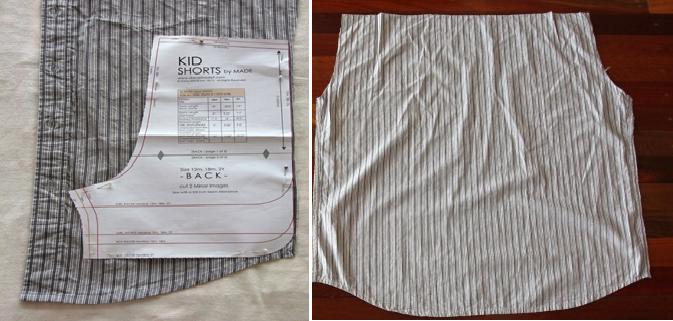 Como transformar camisas en shorts para niños 4