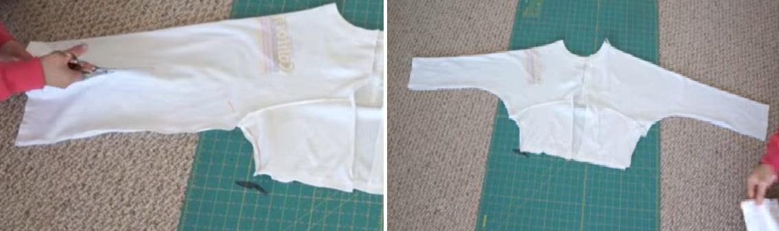 Como transformar camisetas talla grande en chaquetas mangas largas7