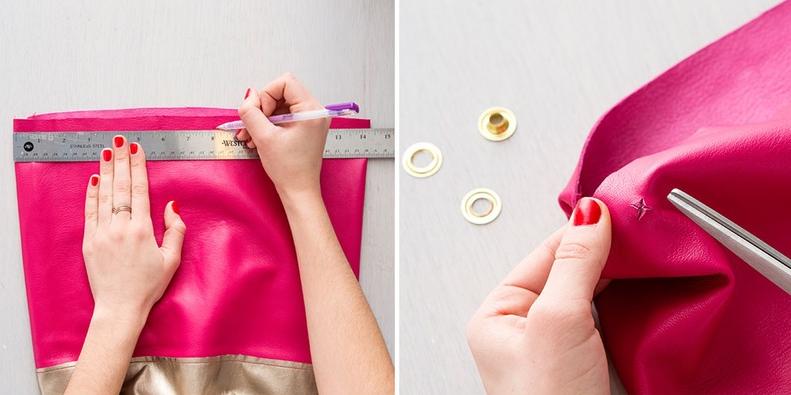 Como hacer bolsos cubo en cuero dos colores paso a paso11