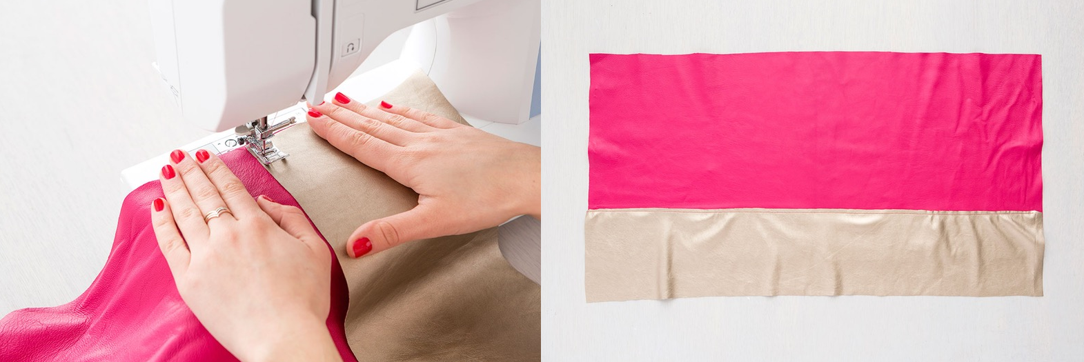 Como hacer bolsos cubo en cuero dos colores paso a paso6