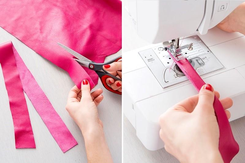 Como hacer bolsos cubo en cuero dos colores paso a paso9
