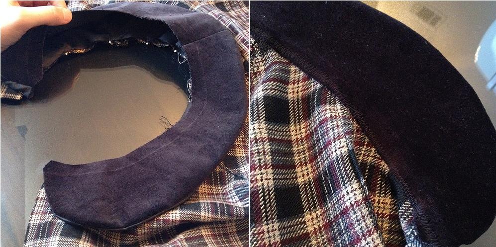 Como hacer chals cuello bebé con faldas escocesas recicladas13