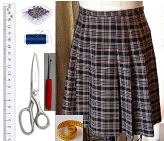 Como hacer chals cuello bebé con faldas escocesas recicladas2
