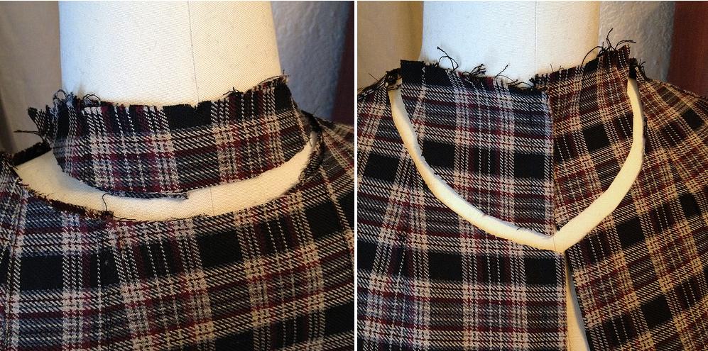 Como hacer chals cuello bebé con faldas escocesas recicladas9