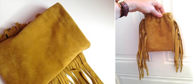 Como hacer un mini bolso de flecos con cuero reciclado14