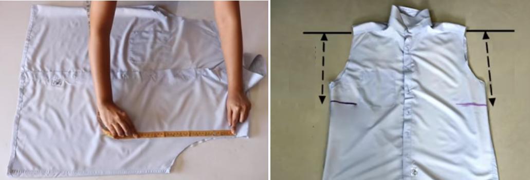Como hacer un overol con una camisa de hombre2
