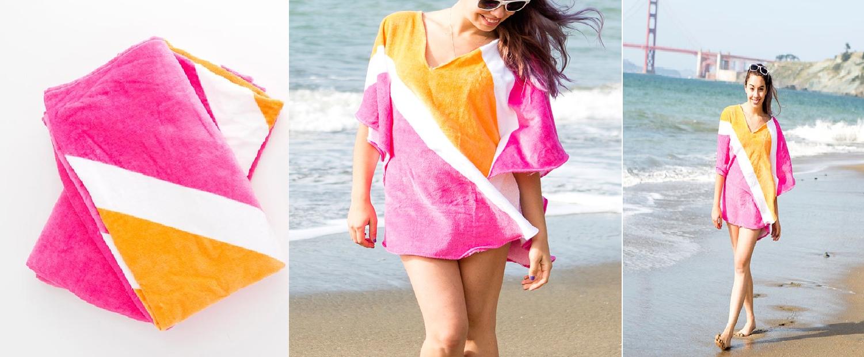 Como hacer vestidos playeros con toallas de baño en simples pasos 1