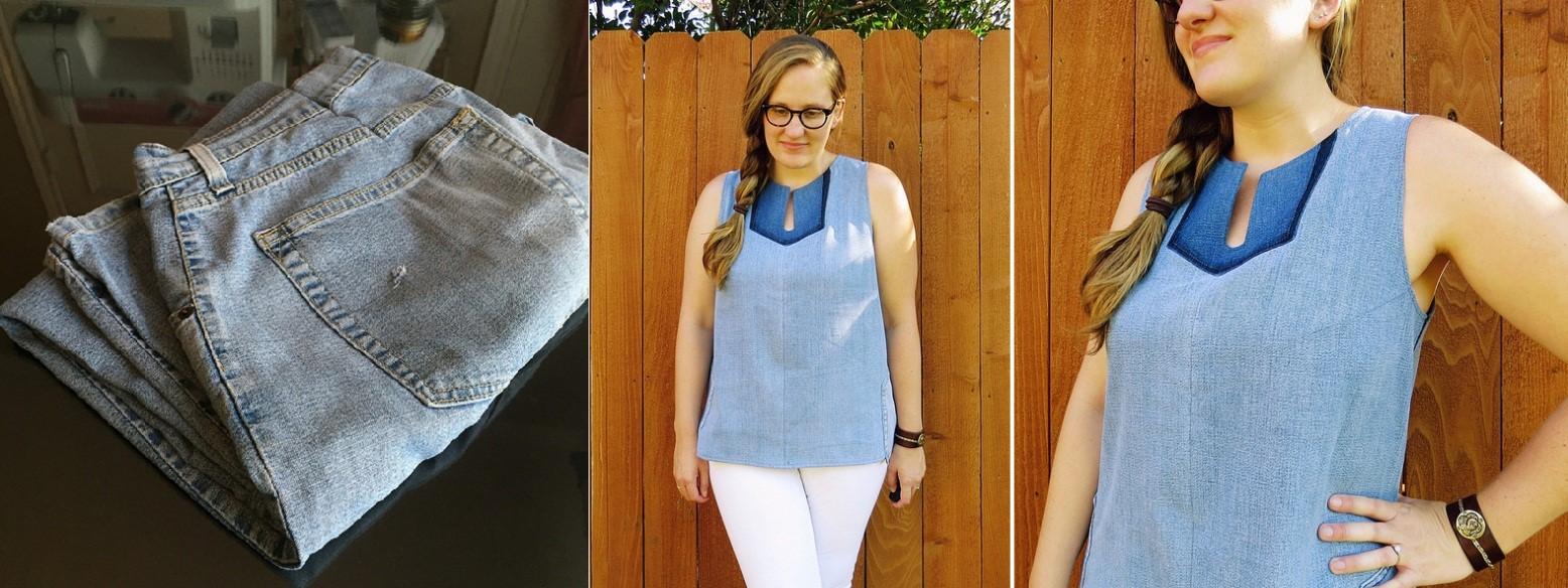 Como hacer blusas modelo túnica con jeans reciclados ¡Perfecta para el verano!1