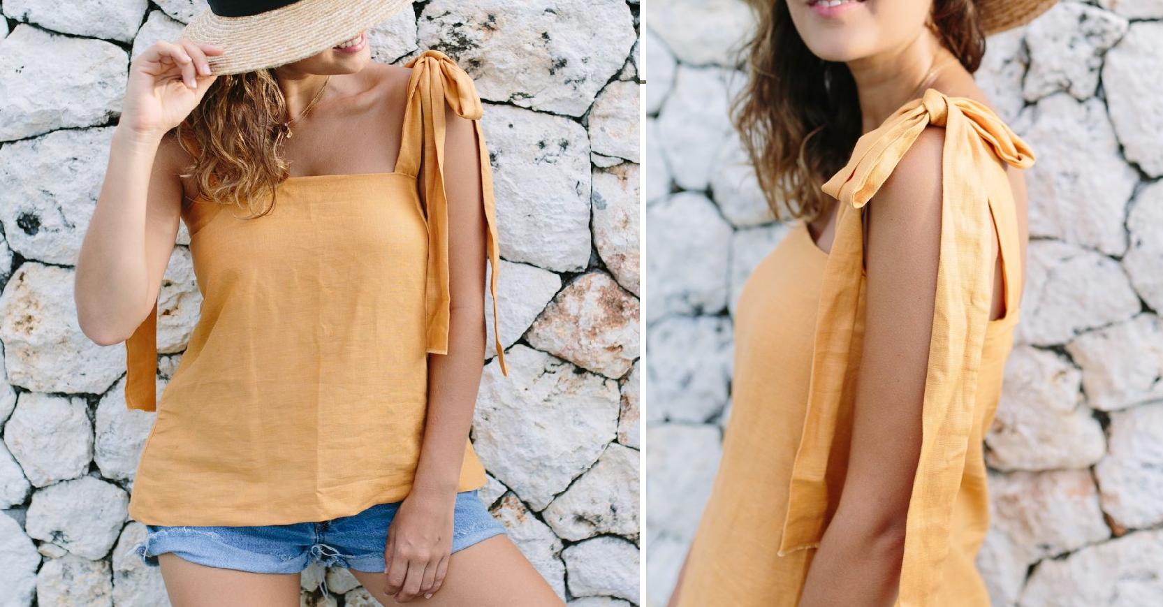 Como hacer tops con tiras para anudar en lino ¡Costuras perfectas para principiantes!7