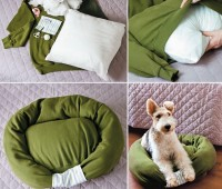 Cama para perro con playera reciclada