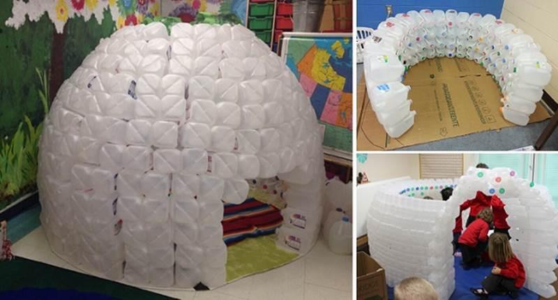 Como construir un iglu Usando botes de leche