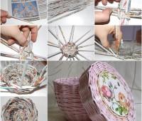 Como hacer cesta con papel periodico