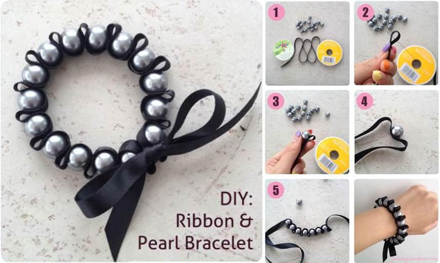 Lindo brazalete con perlas y cinta.