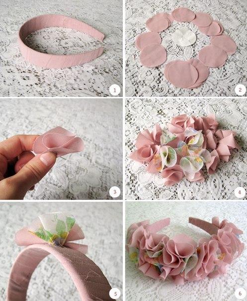 decorar una diadema con flores de tela