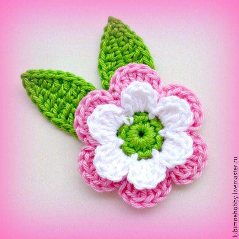 Apliques de flores a crochet patrones
