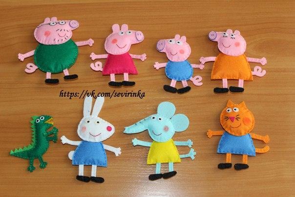 Peppa pig y sus amigos hechos con lana de fieltro