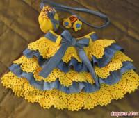 Falda combinada tejida a crochet con tela para niñas