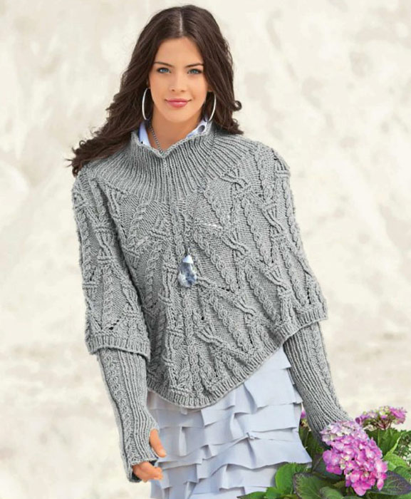 Patron para hacer poncho tejido a crochet gratis
