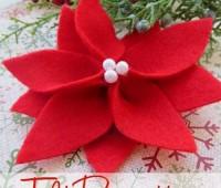 Molde para hacer una flor de noche buena con fieltro