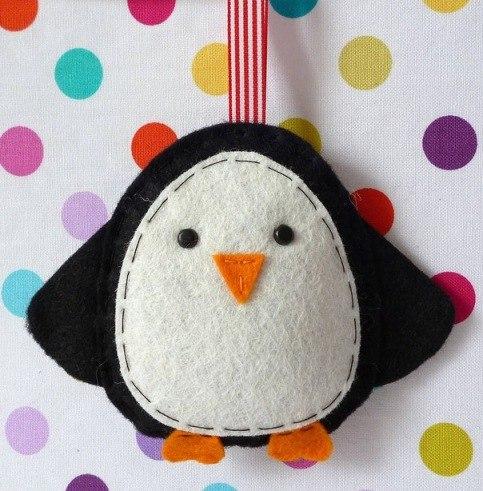 Como hacer pinguinos navideños de fieltro