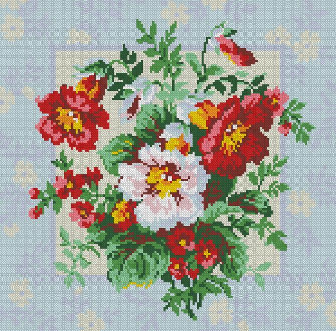 Motivos de flores en punto de cruz