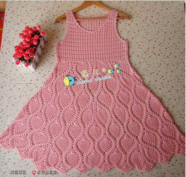 Como hacer un vestido tejido a crochet para niñas