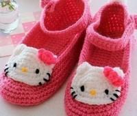 Como hacer zapatos de Hello Kitty a crochet