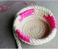 Como hacer cesta con cuerdas