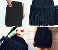 Como transformar una falda lisa en una con flecos sin costuras